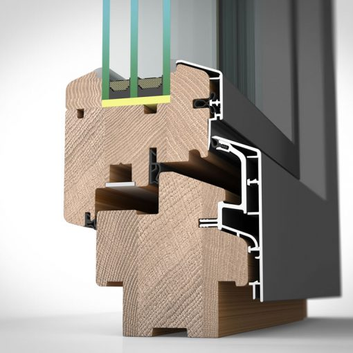Timber & Aluminium Triple Glazed Window Frames Cross Section